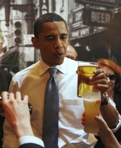 Президенты - любители пива. Барак Обама